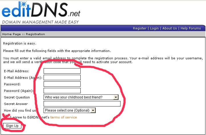 регистрация в сервисе припарковки доменов